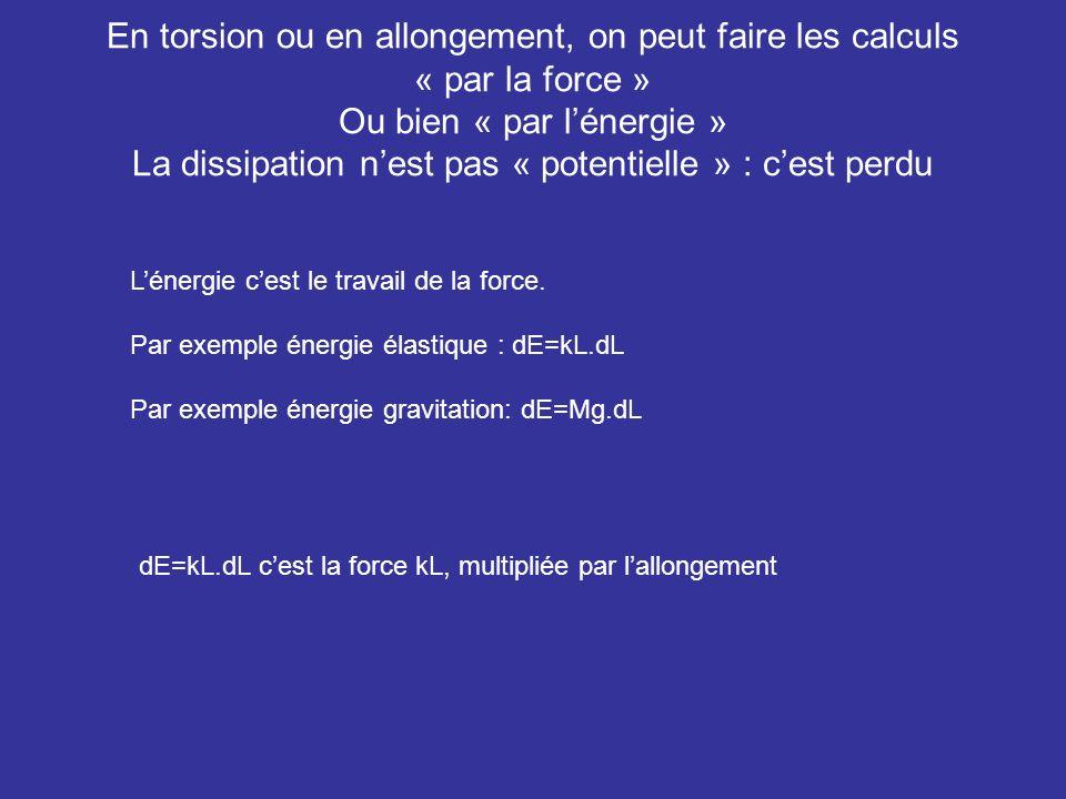 En torsion ou en allongement, on peut faire les calculs « par la force » Ou bien « par l'énergie » La dissipation n'est pas « potentielle » : c'est perdu