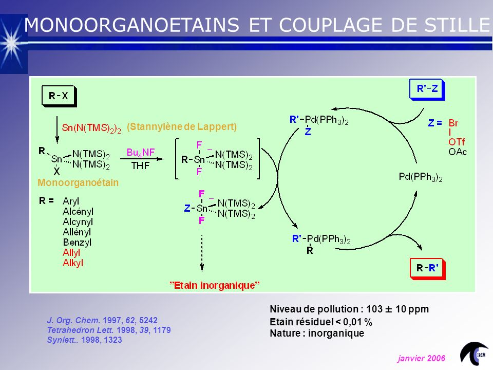 MONOORGANOETAINS ET COUPLAGE DE STILLE