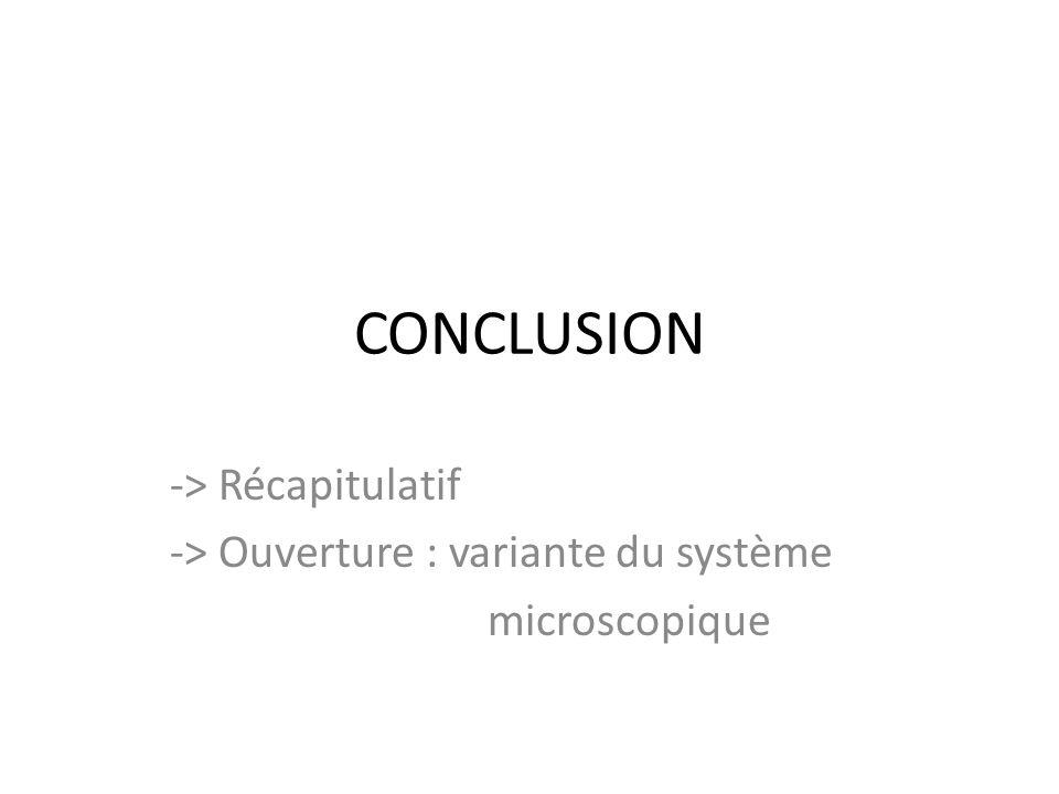 CONCLUSION -> Récapitulatif -> Ouverture : variante du système