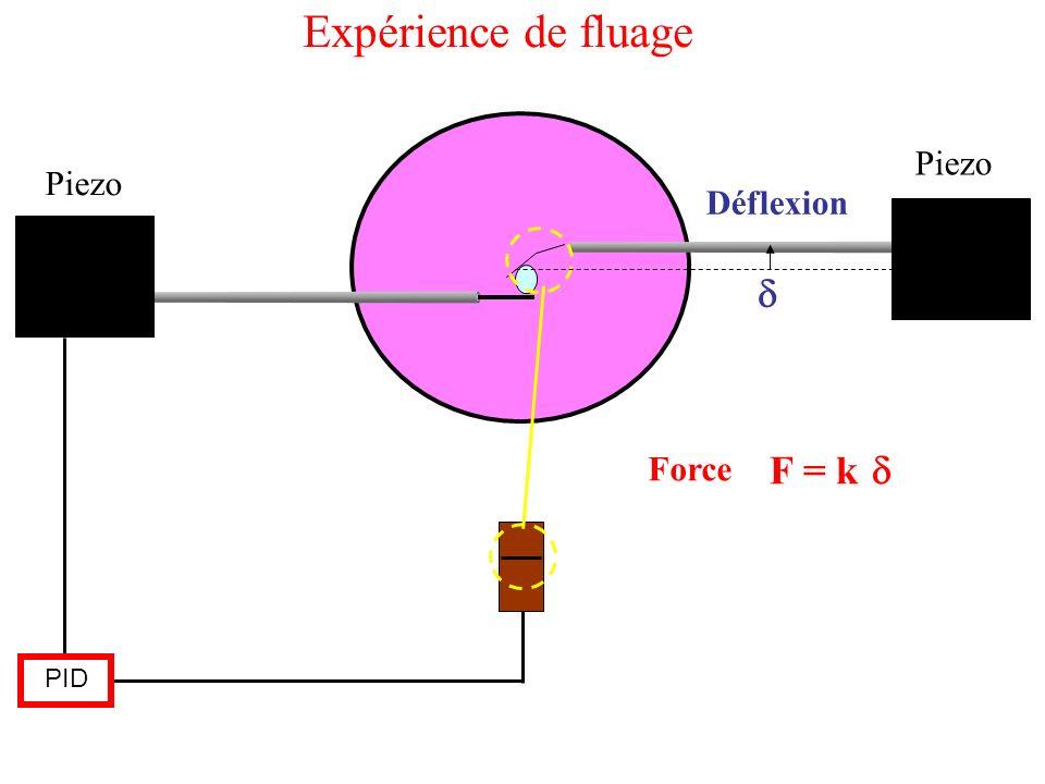 Expérience de fluage Piezo Piezo Déflexion d Force F = k d PID