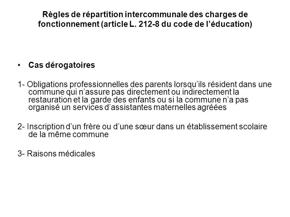 Règles de répartition intercommunale des charges de fonctionnement (article L. 212-8 du code de l'éducation)