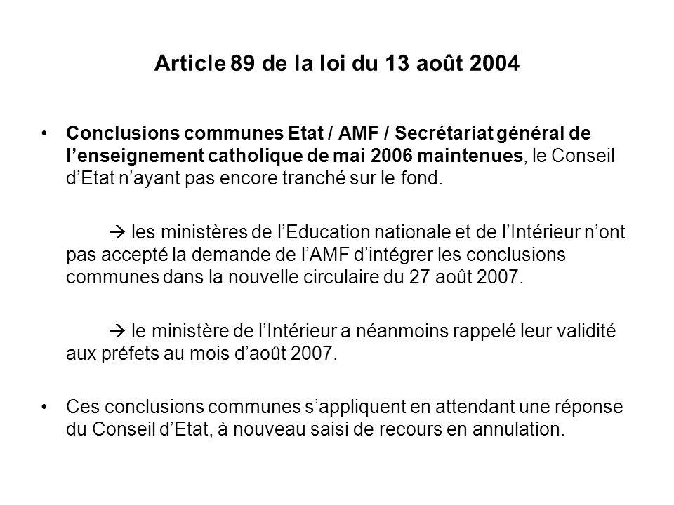 Article 89 de la loi du 13 août 2004