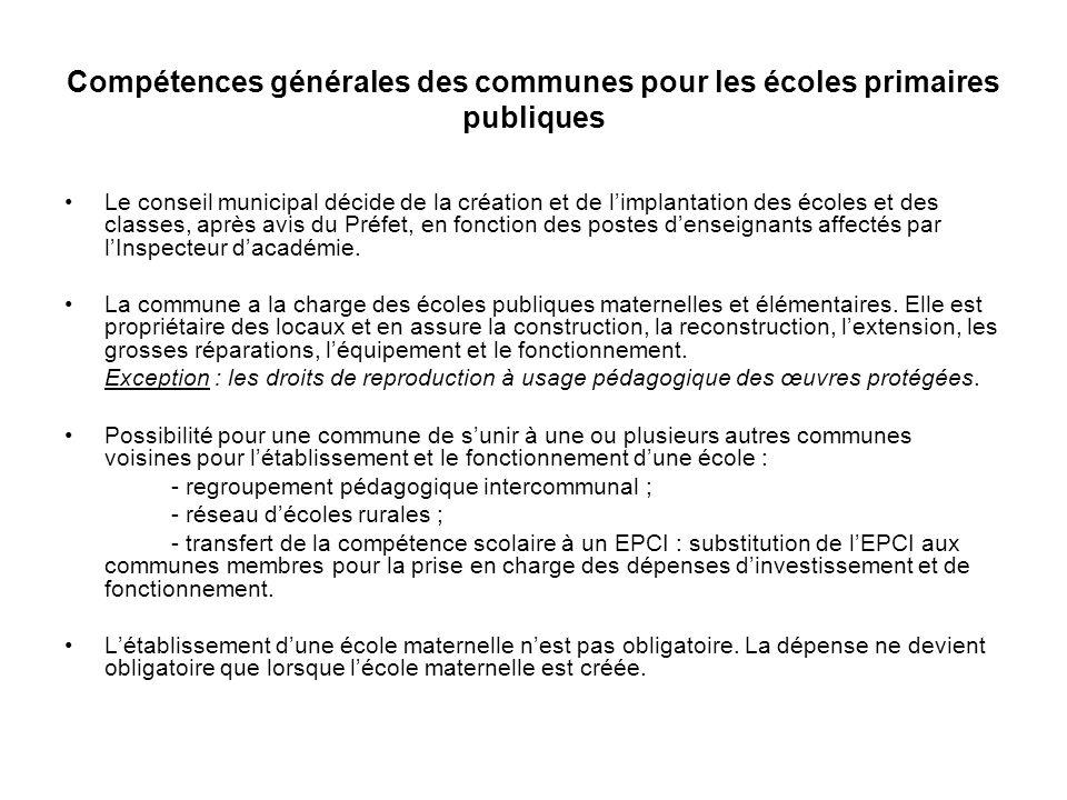 Compétences générales des communes pour les écoles primaires publiques