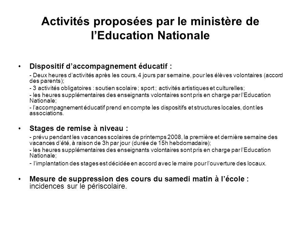 Activités proposées par le ministère de l'Education Nationale