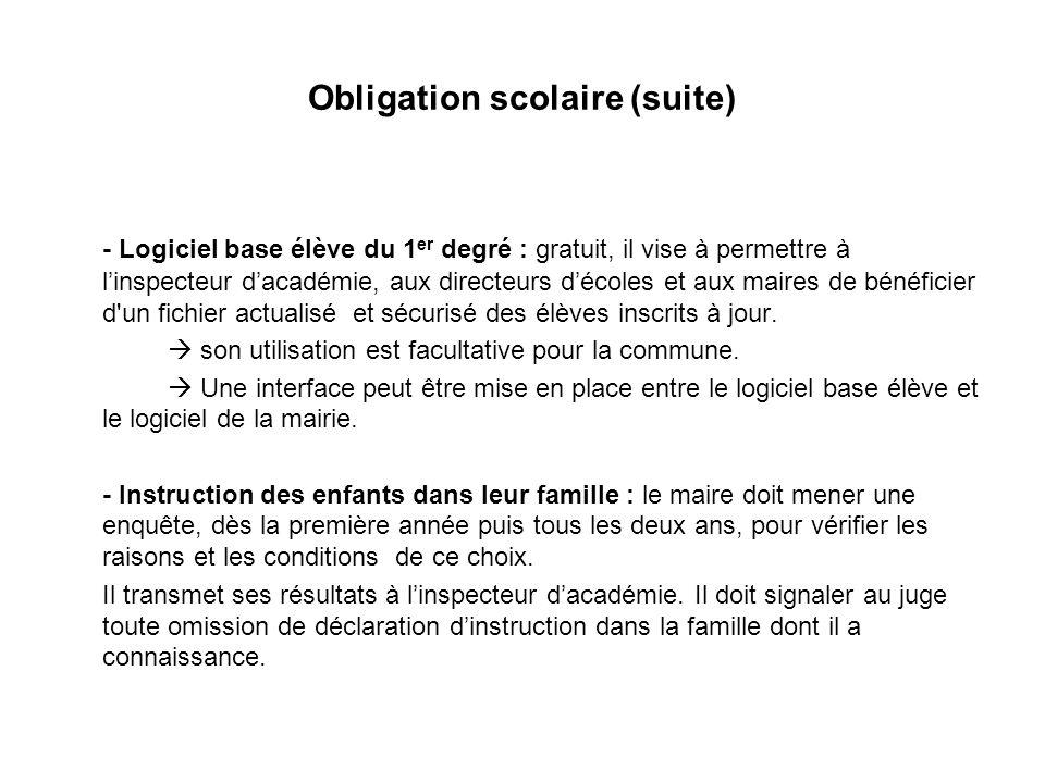 Obligation scolaire (suite)
