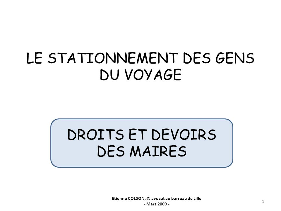 LE STATIONNEMENT DES GENS DU VOYAGE