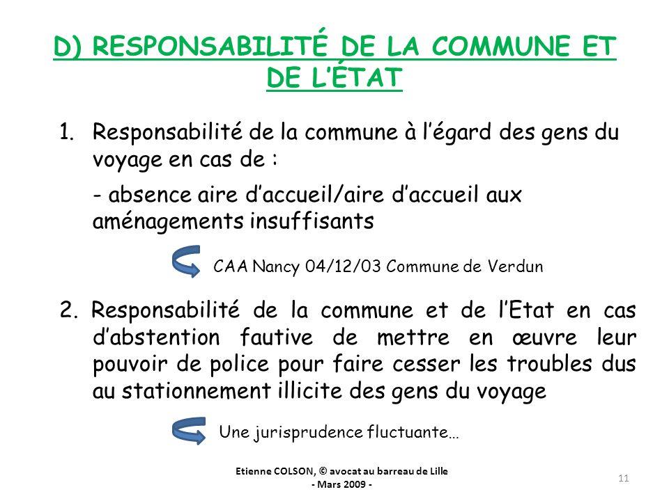 D) RESPONSABILITÉ DE LA COMMUNE ET DE L'ÉTAT