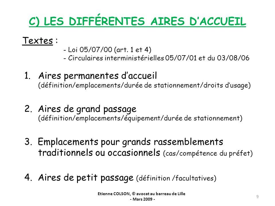 C) LES DIFFÉRENTES AIRES D'ACCUEIL
