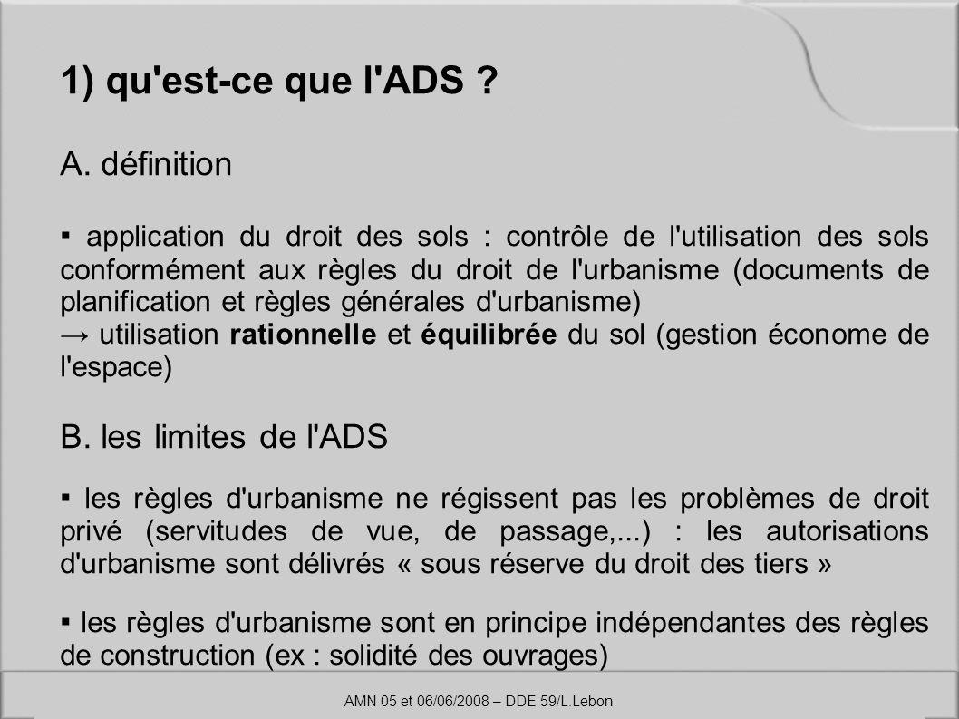1) qu est-ce que l ADS A. définition B. les limites de l ADS