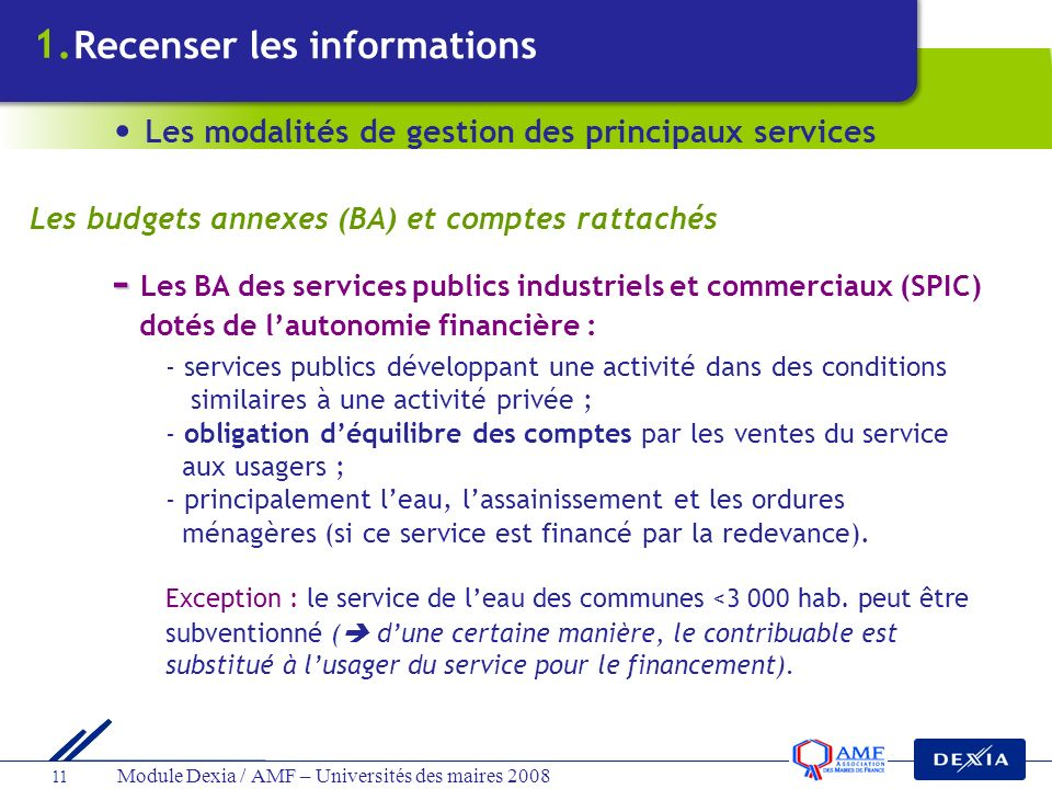 - Les BA des services publics industriels et commerciaux (SPIC)