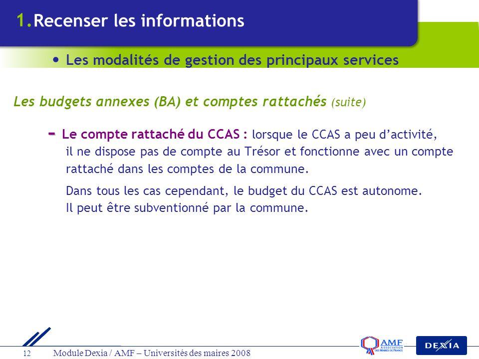 1. Recenser les informations. Les modalités de gestion des principaux services. Les budgets annexes (BA) et comptes rattachés (suite)