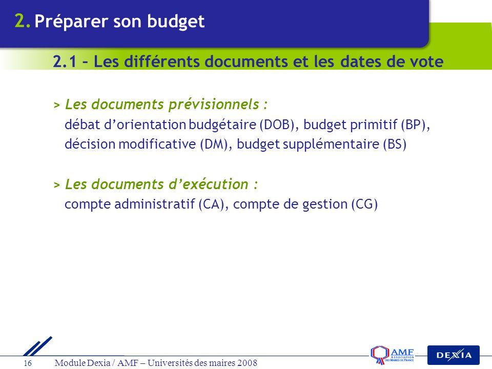 2. Préparer son budget. 2.1 – Les différents documents et les dates de vote. > Les documents prévisionnels :