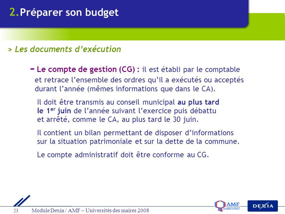 - Le compte de gestion (CG) : il est établi par le comptable