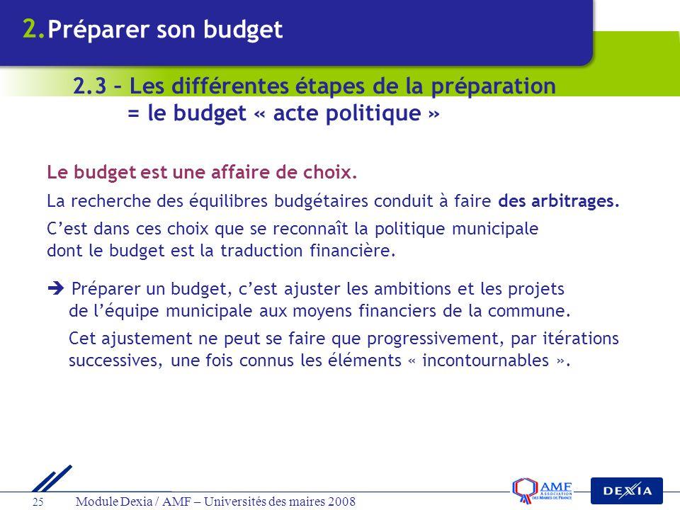 2. Préparer son budget. 2.3 – Les différentes étapes de la préparation = le budget « acte politique »