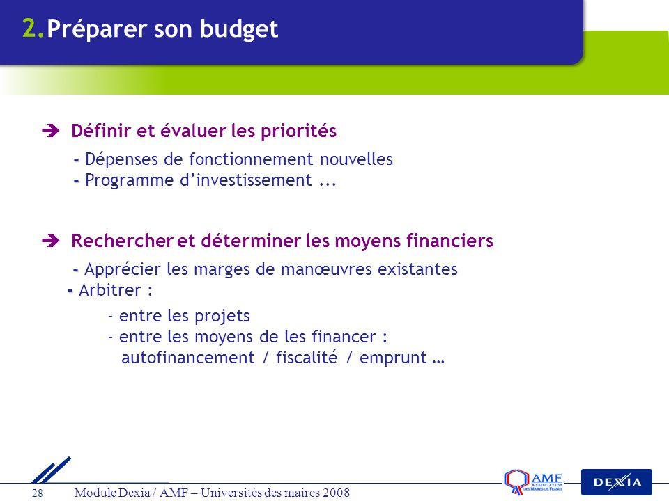 2. Préparer son budget  Définir et évaluer les priorités