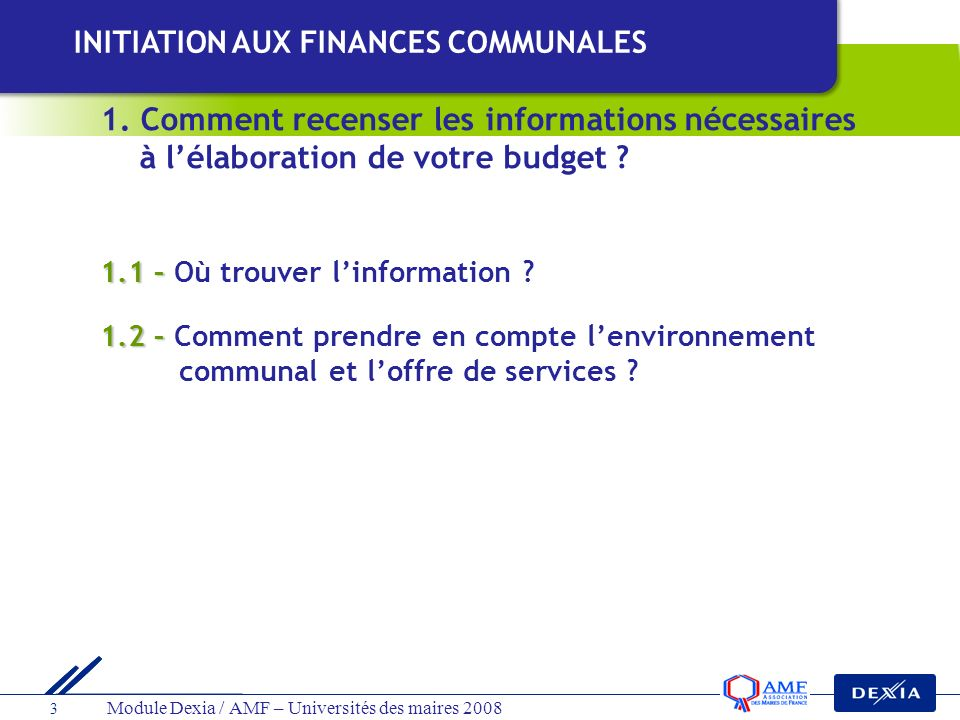 INITIATION AUX FINANCES COMMUNALES