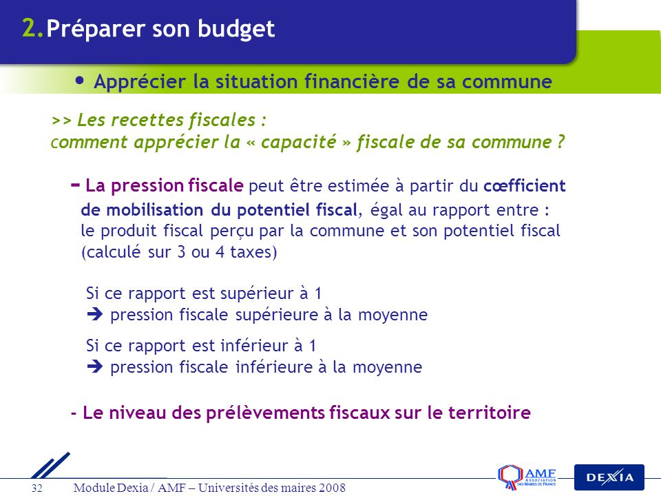 2. Préparer son budget. Apprécier la situation financière de sa commune. >> Les recettes fiscales :