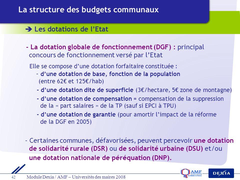 La structure des budgets communaux