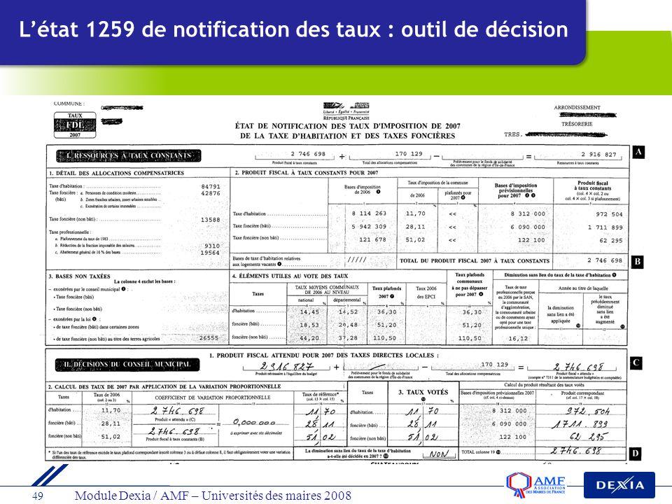 L'état 1259 de notification des taux : outil de décision