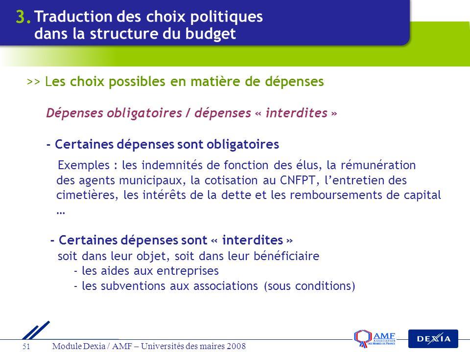 3. Traduction des choix politiques dans la structure du budget