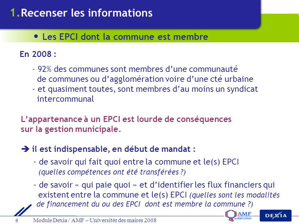 1. Recenser les informations Les EPCI dont la commune est membre
