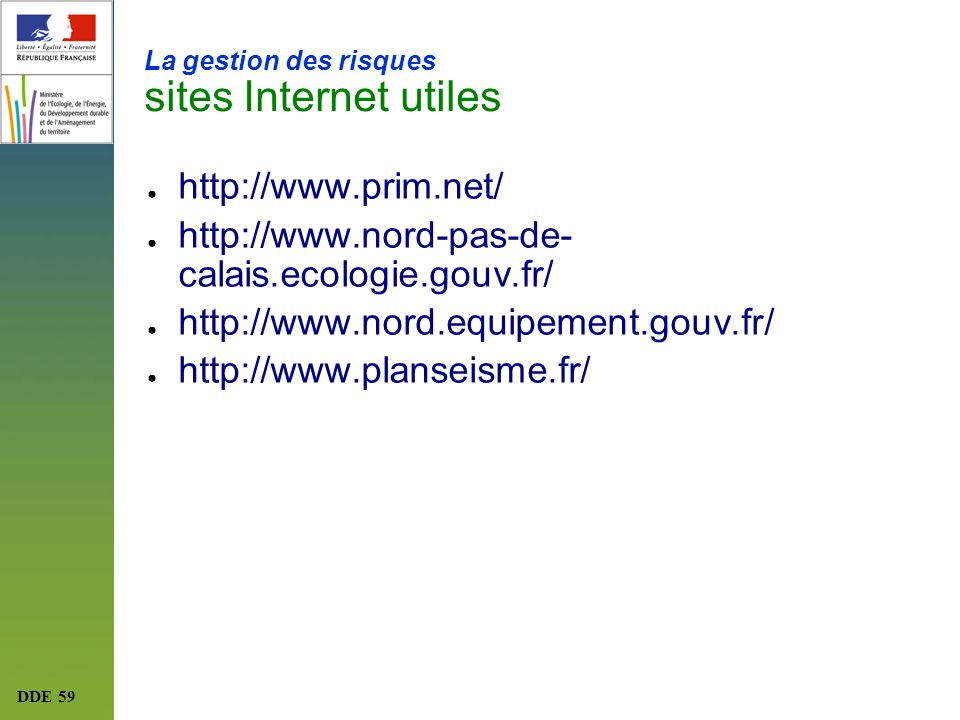 La gestion des risques sites Internet utiles