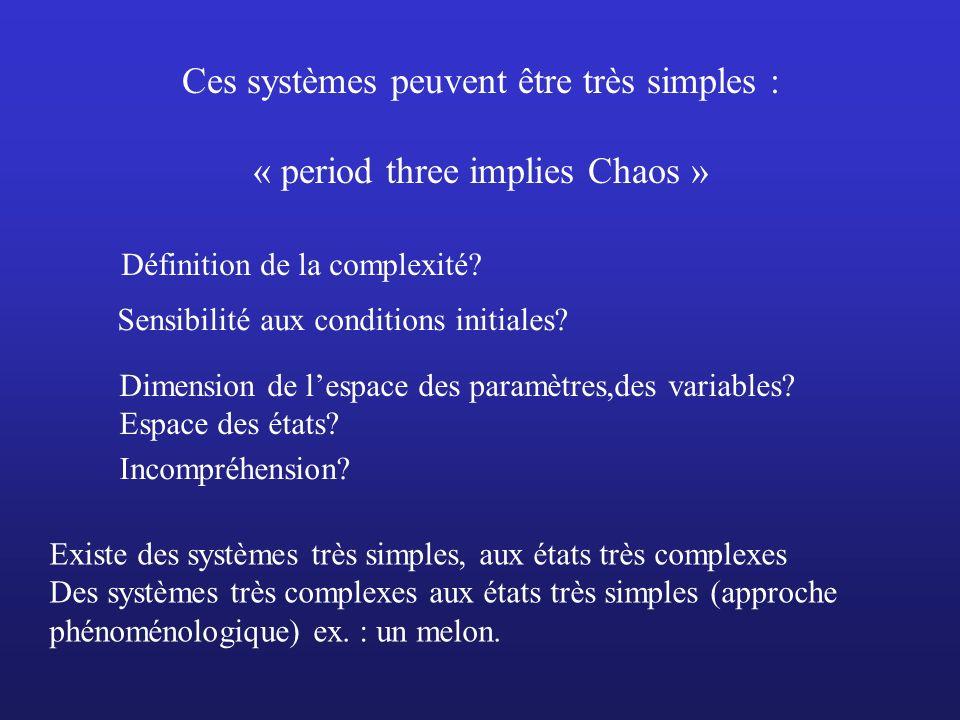 Ces systèmes peuvent être très simples : « period three implies Chaos »