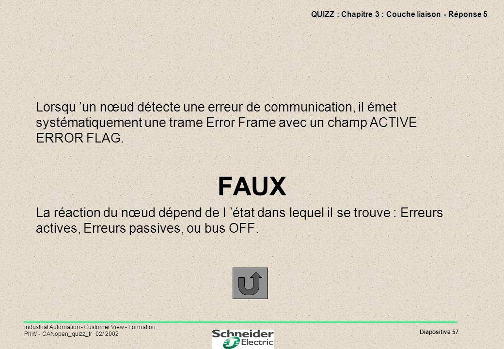 QUIZZ : Chapitre 3 : Couche liaison - Réponse 5