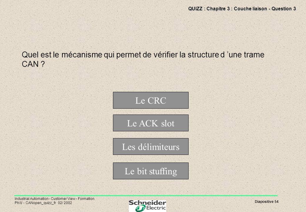 QUIZZ : Chapitre 3 : Couche liaison - Question 3