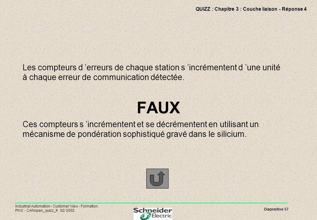 QUIZZ : Chapitre 3 : Couche liaison - Réponse 4