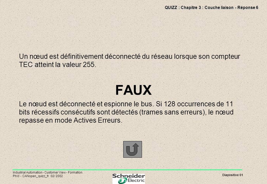 QUIZZ : Chapitre 3 : Couche liaison - Réponse 6