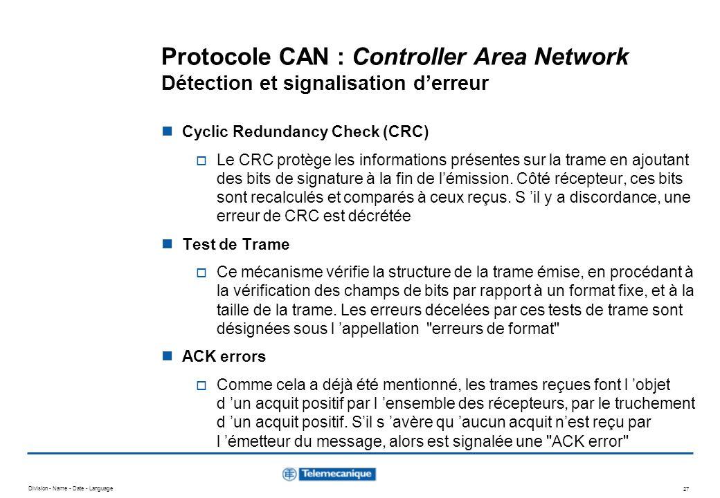 Protocole CAN : Controller Area Network Détection et signalisation d'erreur