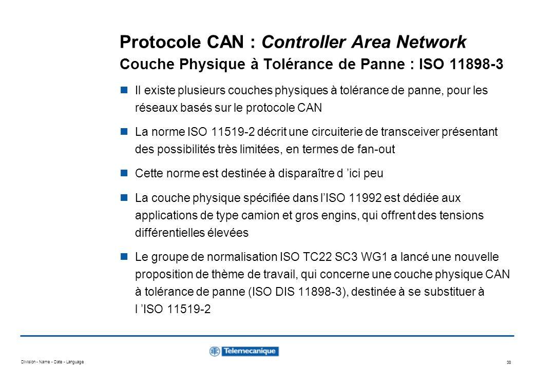 Protocole CAN : Controller Area Network Couche Physique à Tolérance de Panne : ISO 11898-3