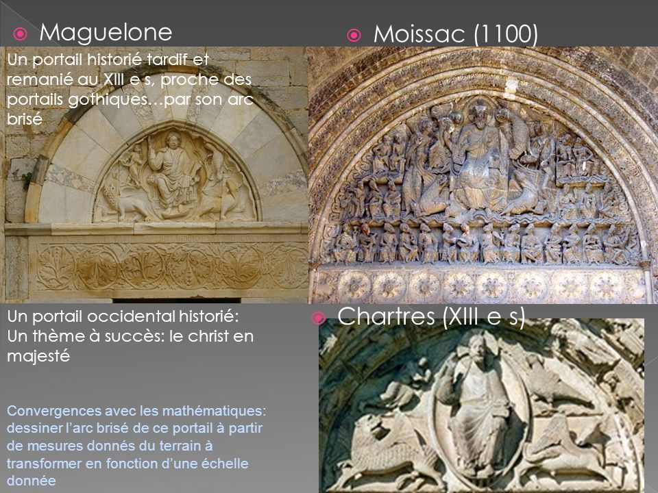 Maguelone Moissac (1100) Chartres (XIII e s)