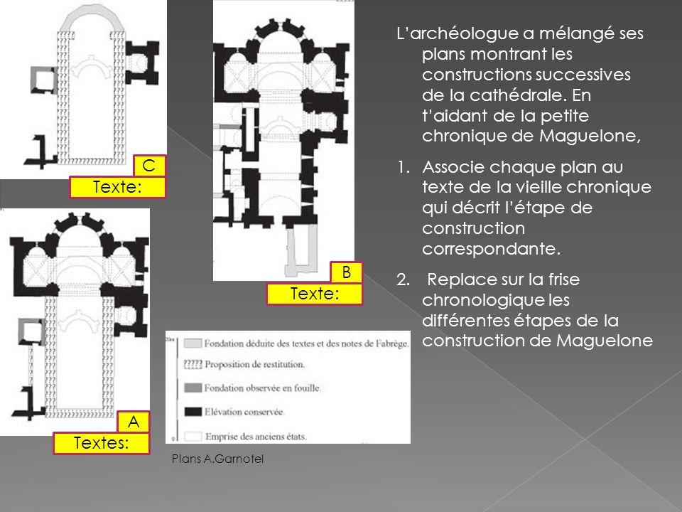 L'archéologue a mélangé ses plans montrant les constructions successives de la cathédrale. En t'aidant de la petite chronique de Maguelone,