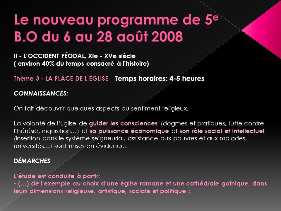 Le nouveau programme de 5e B.O du 6 au 28 août 2008