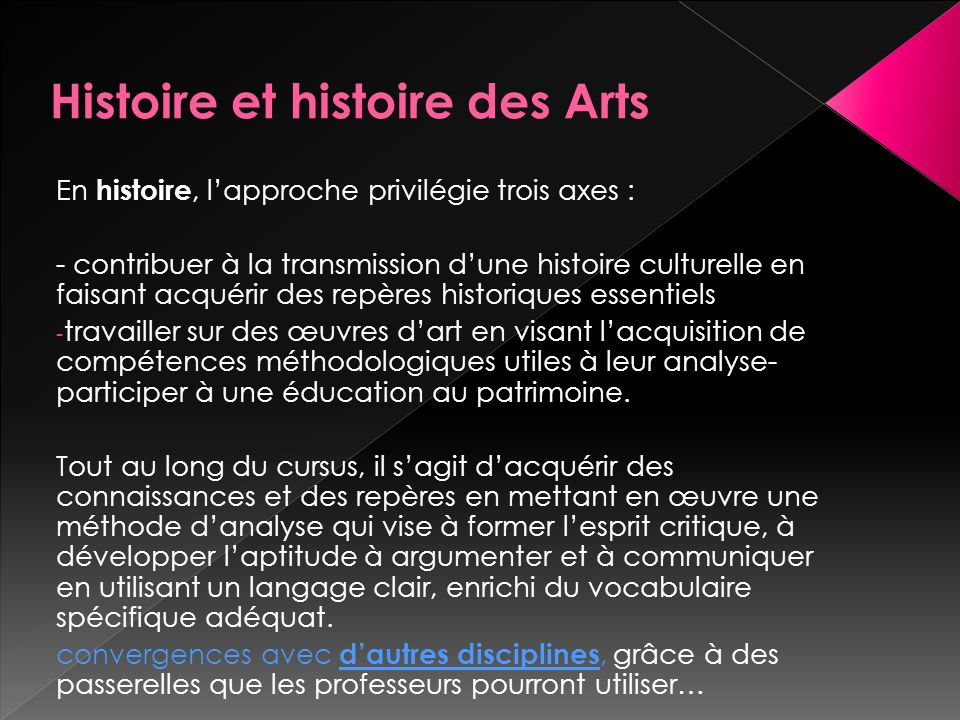 Histoire et histoire des Arts