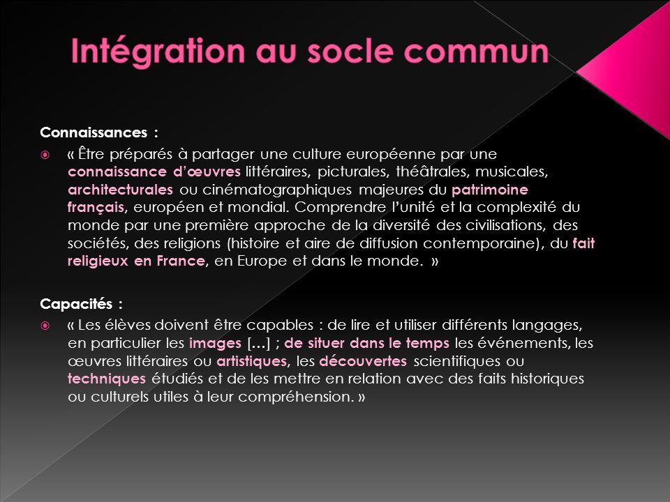 Intégration au socle commun
