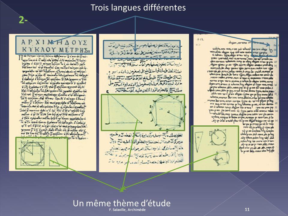 2- Trois langues différentes Un même thème d'étude