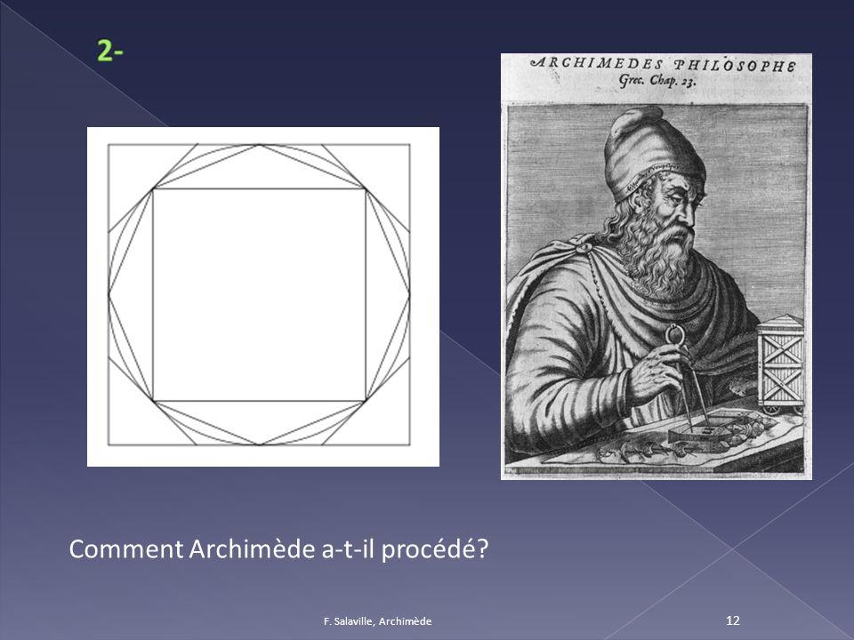 2- Comment Archimède a-t-il procédé F. Salaville, Archimède