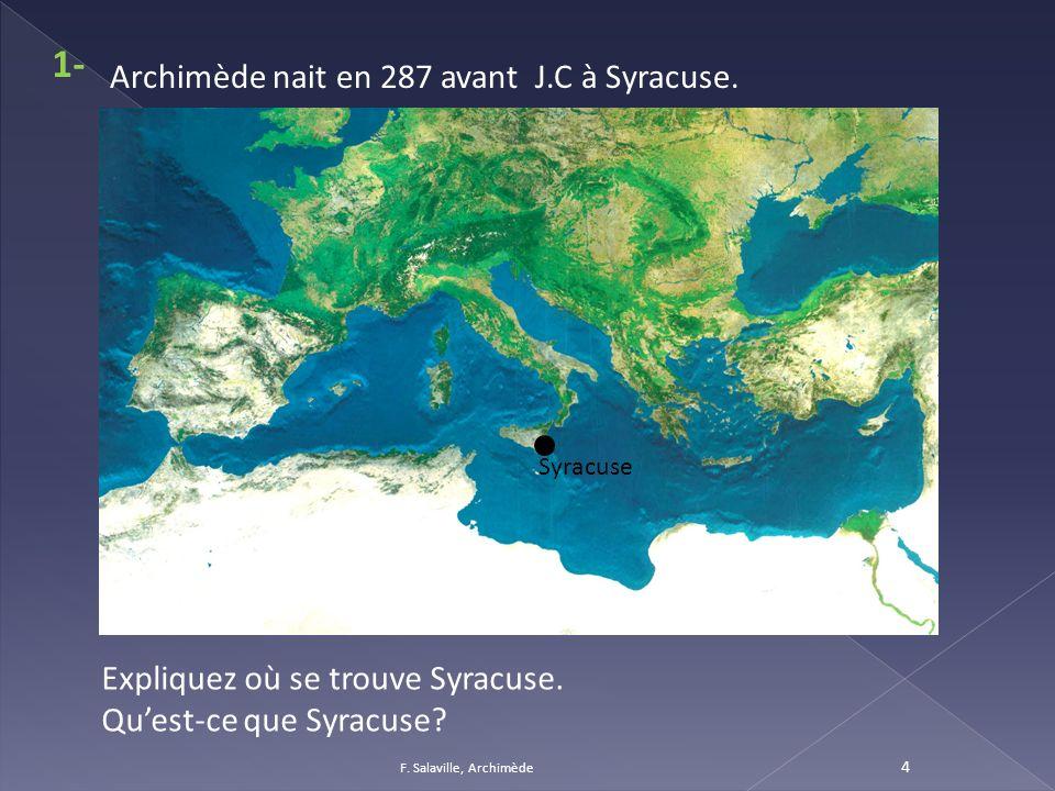 1- Archimède nait en 287 avant J.C à Syracuse.