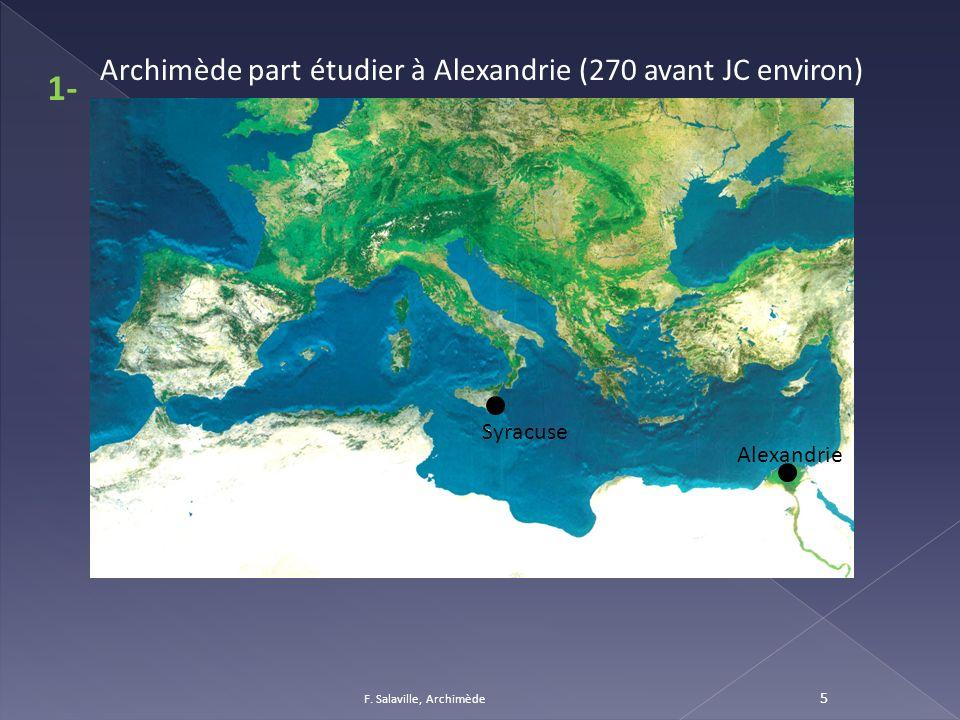 1- Archimède part étudier à Alexandrie (270 avant JC environ) Syracuse