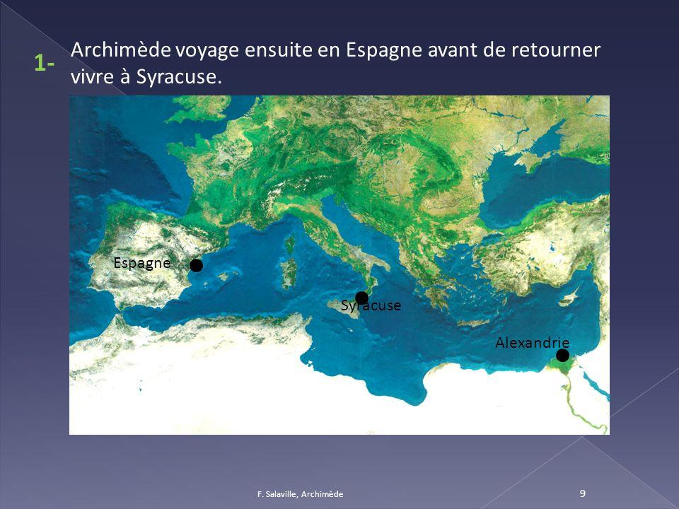 Archimède voyage ensuite en Espagne avant de retourner vivre à Syracuse.