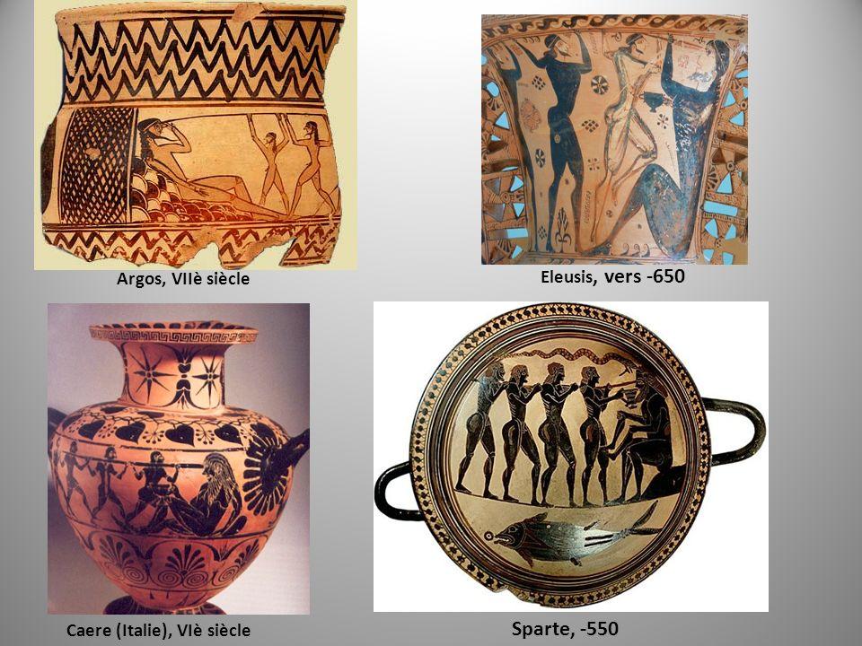 Sparte, -550 Eleusis, vers -650 Argos, VIIè siècle