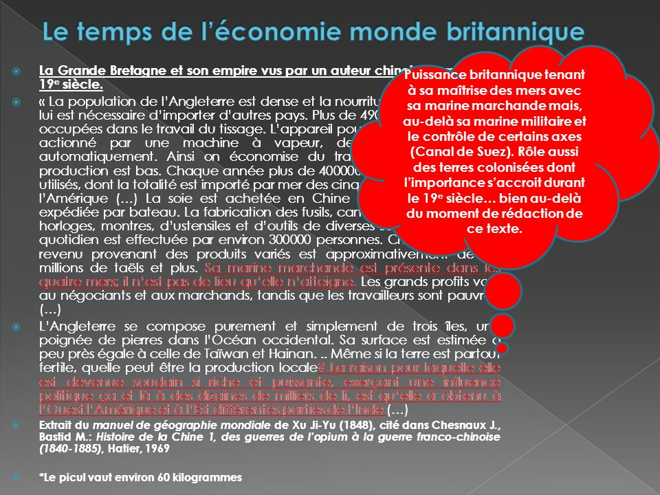 Le temps de l'économie monde britannique