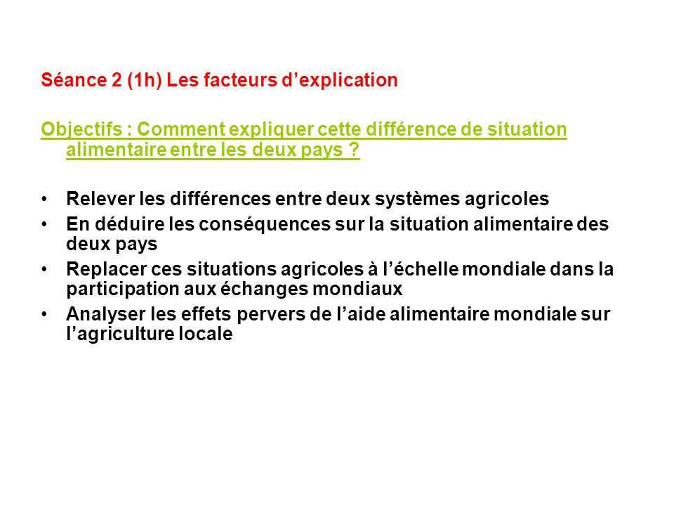 Séance 2 (1h) Les facteurs d'explication