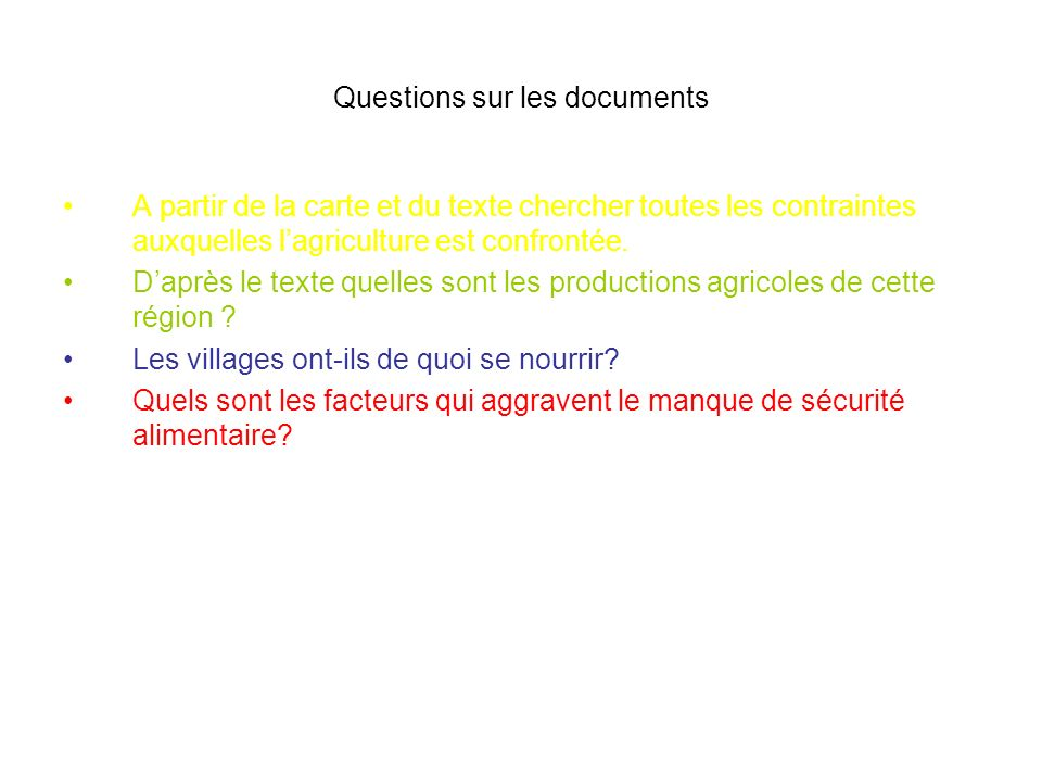 Questions sur les documents