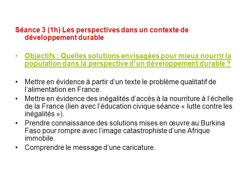 Séance 3 (1h) Les perspectives dans un contexte de développement durable