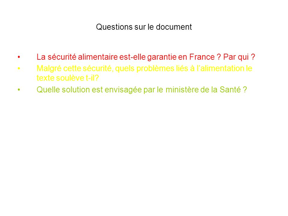 Questions sur le document