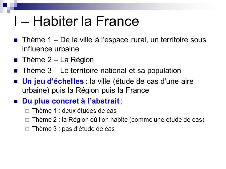 I – Habiter la France Thème 1 – De la ville à l'espace rural, un territoire sous influence urbaine.